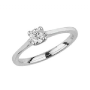 9ct White Gold 0.25ct Solitaire Diamond Ring Four Claw webbed tulip style mount